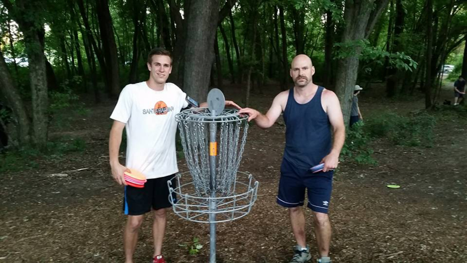 Mike Sale (left) and Dan Schnabel played 500 unique holes in less than 24 hours.